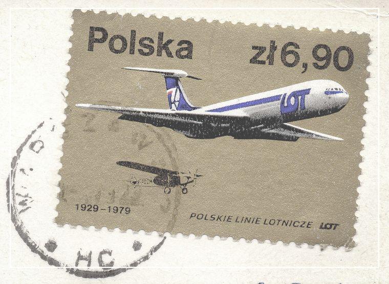 飛行機のポストカード