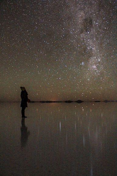満天の星のウユニ塩湖